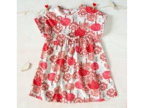 K-Baby Letní stylové dětské šatičky Zvířátka a stromy - červené, hnědá