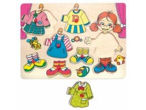 Woody Vkládací - oblékací puzzle Holčička Karolína - 8 ks