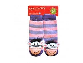 BOBO BABY Dětské protiskluzové ponožky 3D s chrastítkem - Zebra, fialová