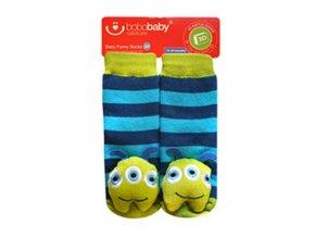 BOBO BABY Dětské protiskluzové ponožky 3D s chrastítkem - Příšerka, tyrkysová