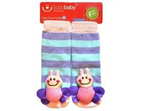 BOBO BABY Dětské protiskluzové ponožky 3D - Včelka, fialová