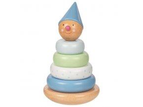 Goki Edukační dřevená mini věž - Klaun, modrý
