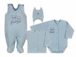 Koala Baby 4 dílná bavlněná soupravička do porodnice Sovička - modrá, vel. 68