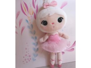 Mini hadrová panenka Metoo s klipem Baletka, růžové šatičky, 22cm