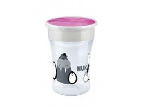 Hrneček NUK Magic Cup 230 ml - Tučňáci-růžová, 8 m+