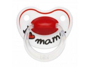 Silikonový ortodontický dudlík BIBI - I love Mama, srdíčko, 0-6 m