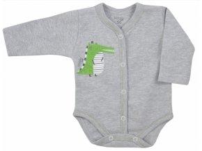 Koala Baby body s dlouhým rukávem Tasmánie - Krokodýl, šedý melírek, vel. 68