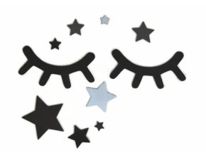 Adam Toys Dekorace na zeď - Spící očka s hvězdičkami, modré