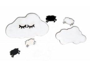 Adam Toys Dekorace na zeď - Spící mráček s ovečkama, bílý/černý