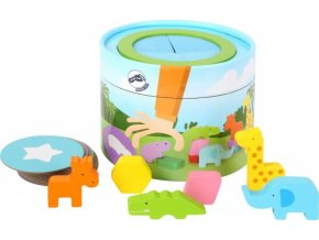 Small Foot Memo box se zvířátky 32 dílků, - Safari