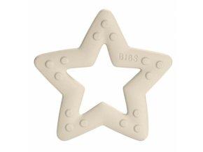 BIBS Baby Bitie Star Ivory - Silikonové kousátko Hvězdička - bílá