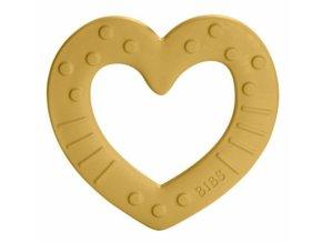 BIBS Baby Bitie Heart Mustard - Silikonové kousátko Srdíčko - hořčicové