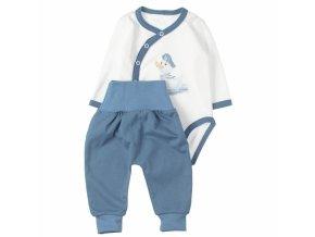 MBaby 2-dílná kojenecká sada body s dl.rukávem zap.bokem + tepláčky, Duck boy