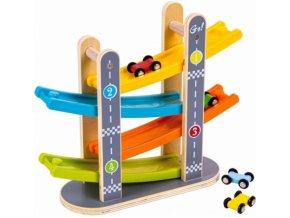 Eco Toys Dřevěná závodní dráha s autíčky - Fun Racing Track