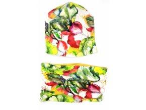 Bexa Jarní dvouvrstvá čepice + komínek, Vegetables, vícebarevná