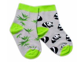 Baby Nellys Bavlněné veselé ponožky Panda - šedé