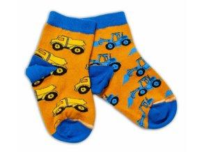 Baby Nellys Bavlněné veselé ponožky Stavební stroje - hořčicové