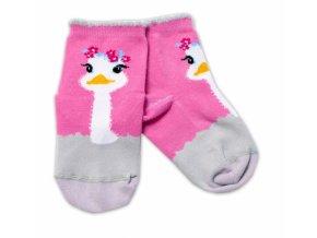 Baby Nellys Bavlněné ponožky Pštros - tmavě růžové