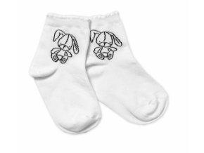 Baby Nellys Bavlněné ponožky Cutte Bunny - bílé, vel. 15-16 cm