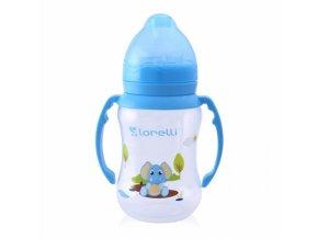 Kojenecká lahvička Lorelli 250 ML s širokým hrdlem a oušky ANIMALS BLUE