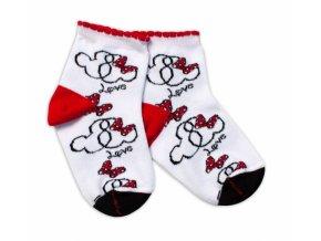 Baby Nellys Bavlněné ponožky Minnie Love - bílé
