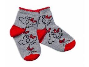 Baby Nellys Bavlněné ponožky Minnie Love - šedé