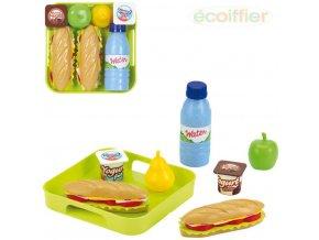 ECOIFFIER Baby herní set svačina s podnosem dětské makety potravin plast