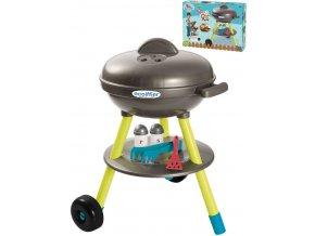 ECOIFFIER Baby gril zahradní kulatý set s maketami potravin a nástroji plast