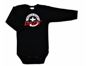 Baby Dejna Body ROCK STAR BABY dlouhý rukáv - černé