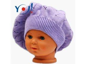 Háčkovaný baret YO ! - lila