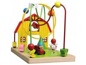 Lelin Edukační dřevěná hračka labyrint 25,5 cm - Farma