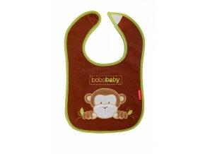 BOBO BABY Třívrstvý bavlněný bryndáček Opička - hnědý
