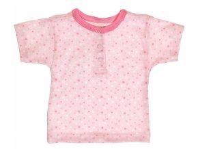 MBaby Bavlněné Polo tričko s krátkým rukávem Hvězdičky - růžové