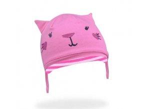 Bavlněná čepička YO ! Hela kočička - růžová - se zavazováním