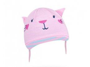 Bavlněná čepička YO ! Hela kočička - sv. růžová - se zavazováním