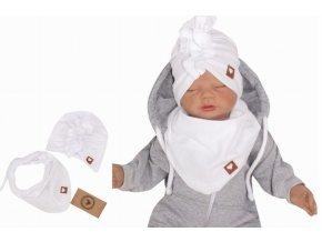 Z&Z Stylová dětská jarní/podzimní bavlněná čepice, turban s šátkem, bílá
