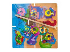Tulimi Dřevěné zábavné puzzle, na chytání a vkládaní - rybičky