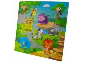 Tulimi Dřevěné zábavné puzzle vkládací - Zoo velké