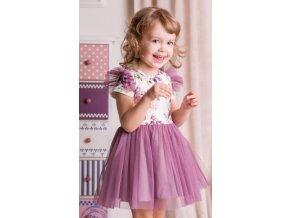 G-baby Letní šaty Květy s týlem - lila