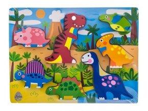 Tulimi Dřevěné zábavné puzzle vkládací - Dinosauři