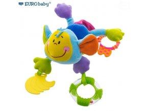 Euro Baby Závěsná edukační hračka s chrastítkem a kousátkem - Opice - modrá