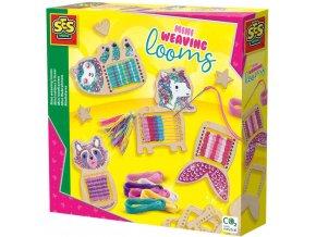 SES CREATIVE DŘEVO Mini tkalcovský stav zvířátka kreativní set v krabici