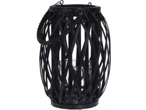 Lucerna na svíčku dřevěná 23 x 29,5 cm černá