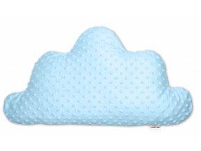 Baby Nellys Dětský dekorační polštář Mráček - minky modrý