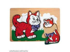Dřevěné vkládací puzzle kočky