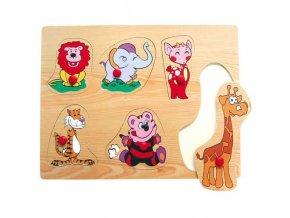 Dřevěné vkládací puzzle zvířata ZOO