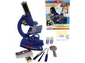 MAC TOYS Mikroskop dětský zvětšení 100/200/450x sada malý věděc 23ks v krabici