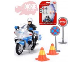 DICKIE Motocykl policie 10cm set řidič + 2 dopravní značky na kartě