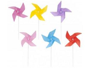 Větrník klasický jednobarevný na tyčce 28cm 6 barev plast