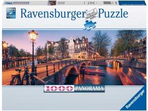 RAVENSBURGER Puzzle panoramatické Amsterdam 1000 dílků 98x38cm foto skládačka